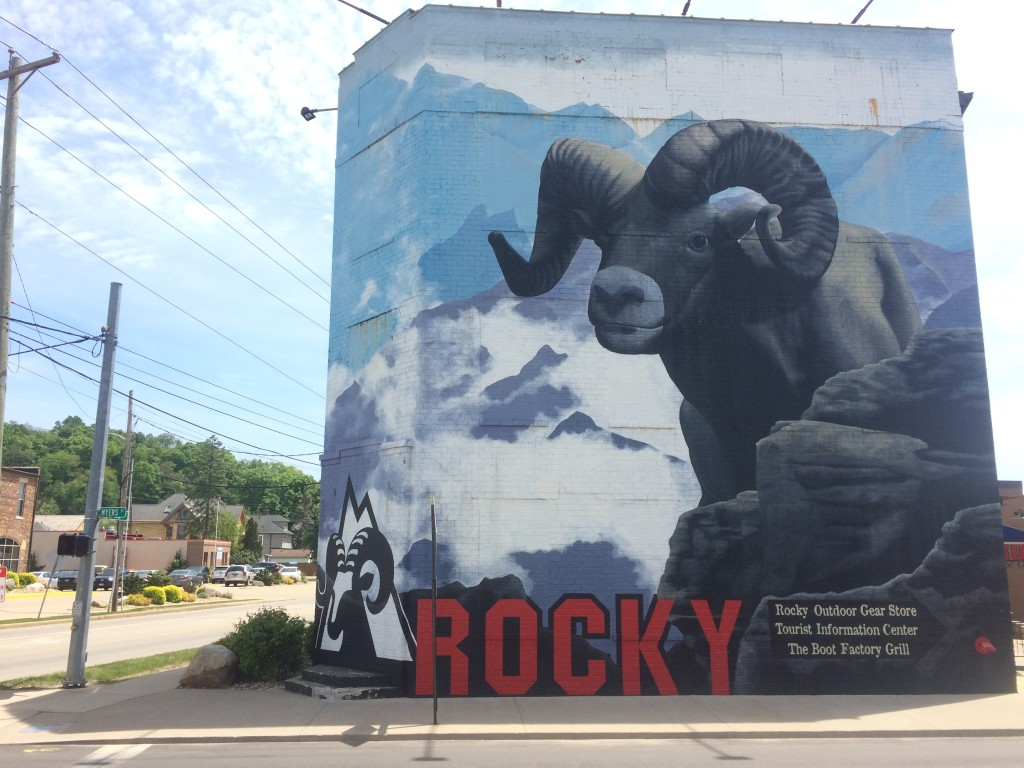 The very cool mural at the Rocky Boots store in Nelsonville.