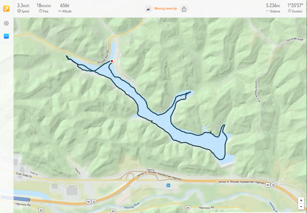 My route on Dow Lake via the Trails app