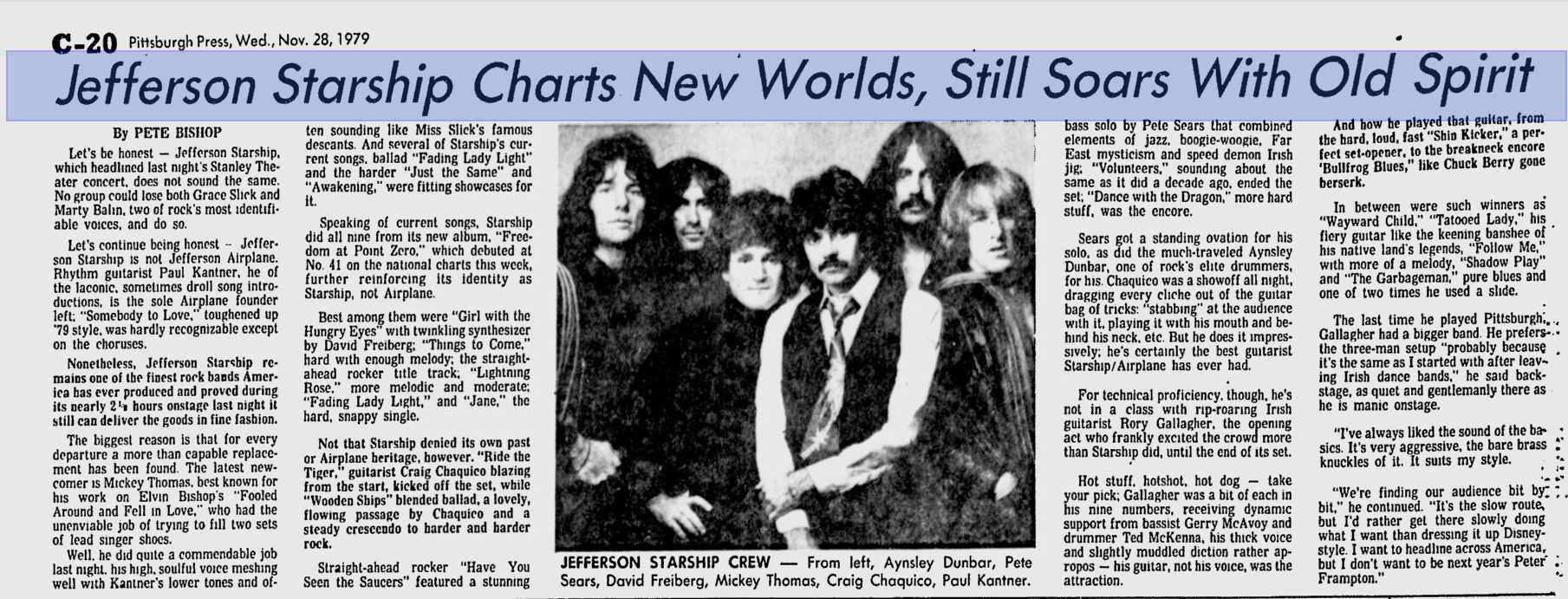 Pete Bishop's Pittsburgh Press review of the Jefferson Starship/Rory Gallagher show.