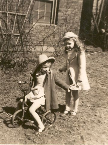 Mom and little sister, Joanne, in the back yard of my grandparents house in North Braddock, Pa.