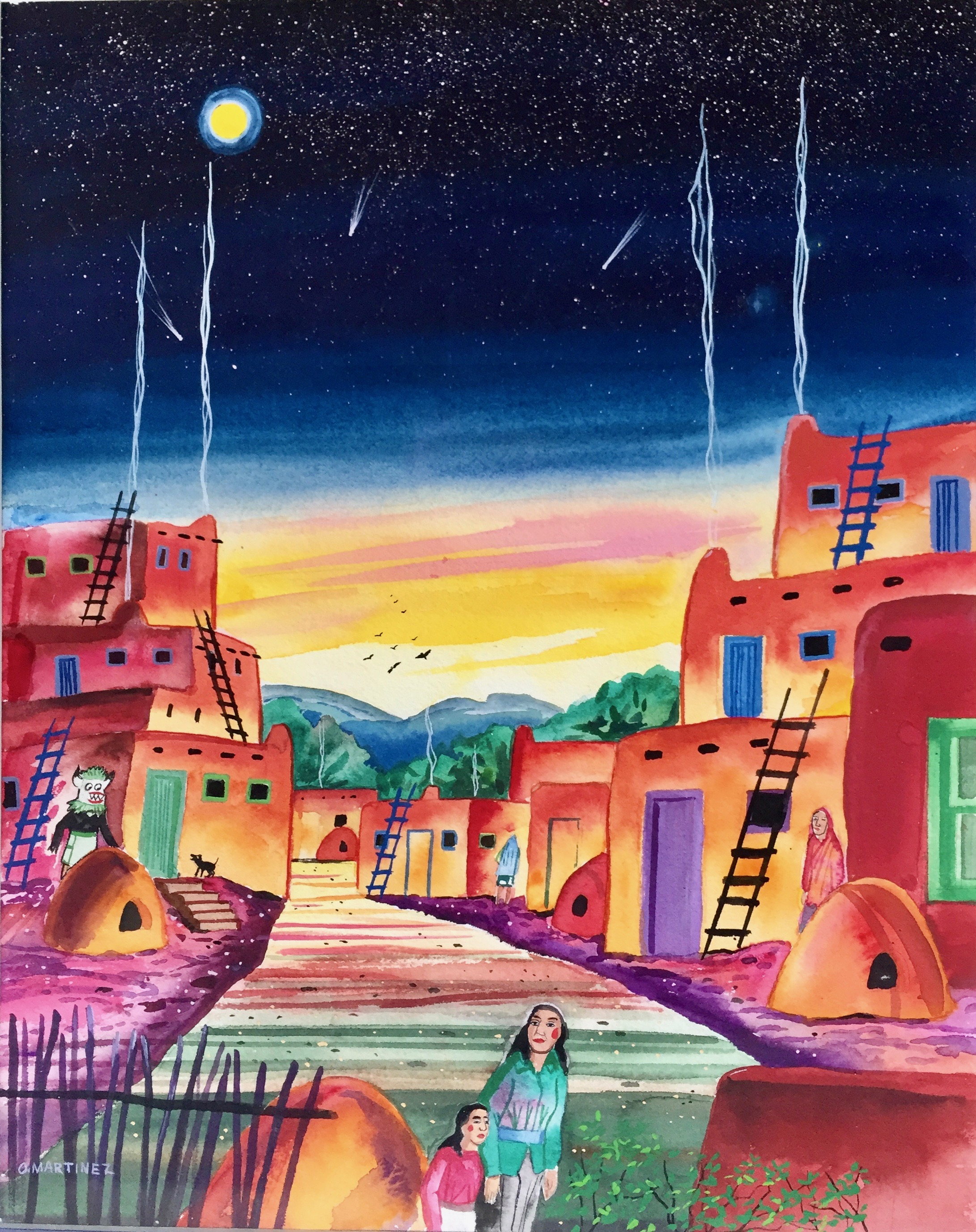 Watercolor of a New Mexico pueblo by O. Martinez