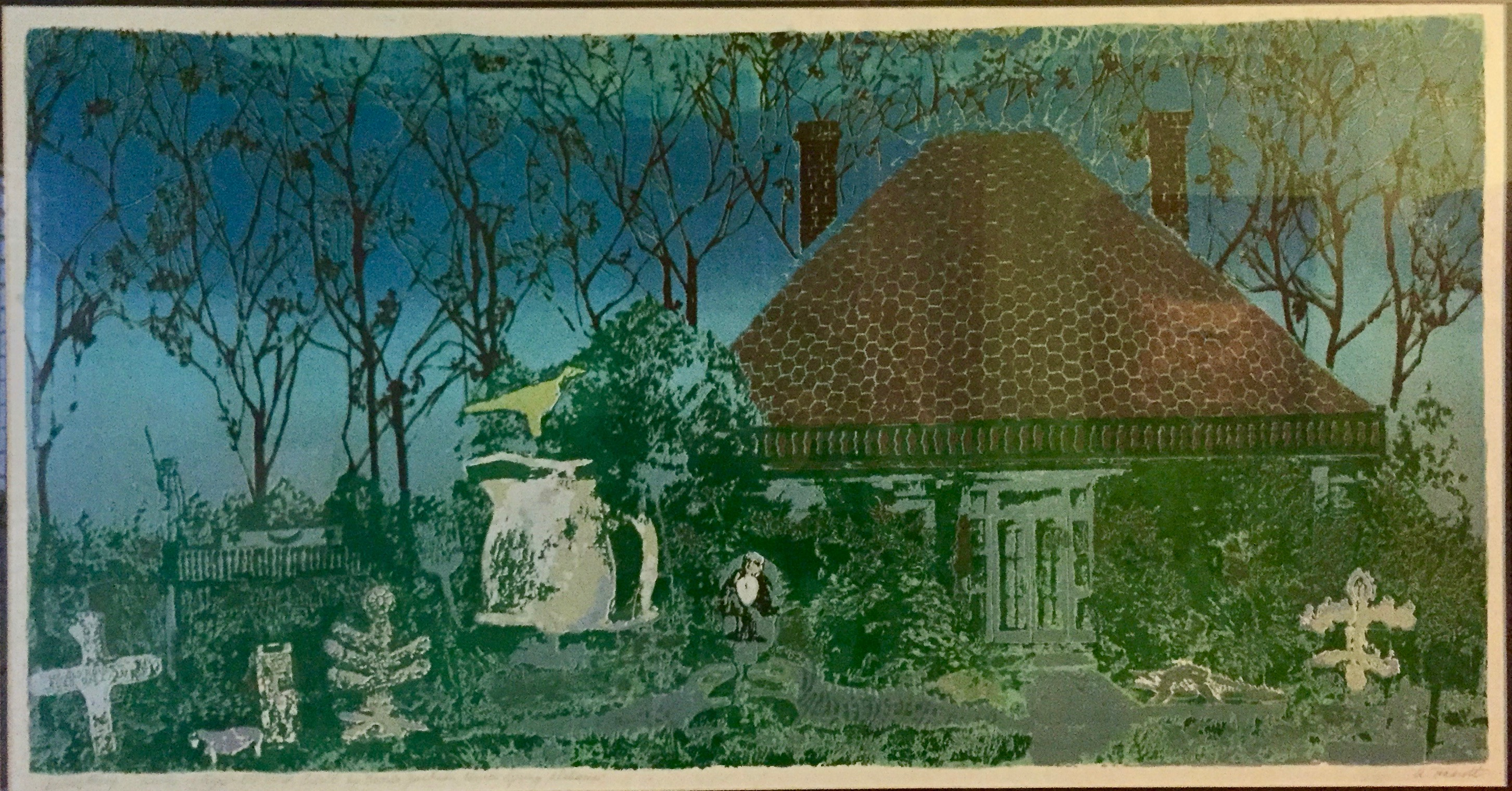 Anton Haardt's print of a garden in Montgomery, Alabama, that our dear friend Boogie gave us when we got married in August 1989.