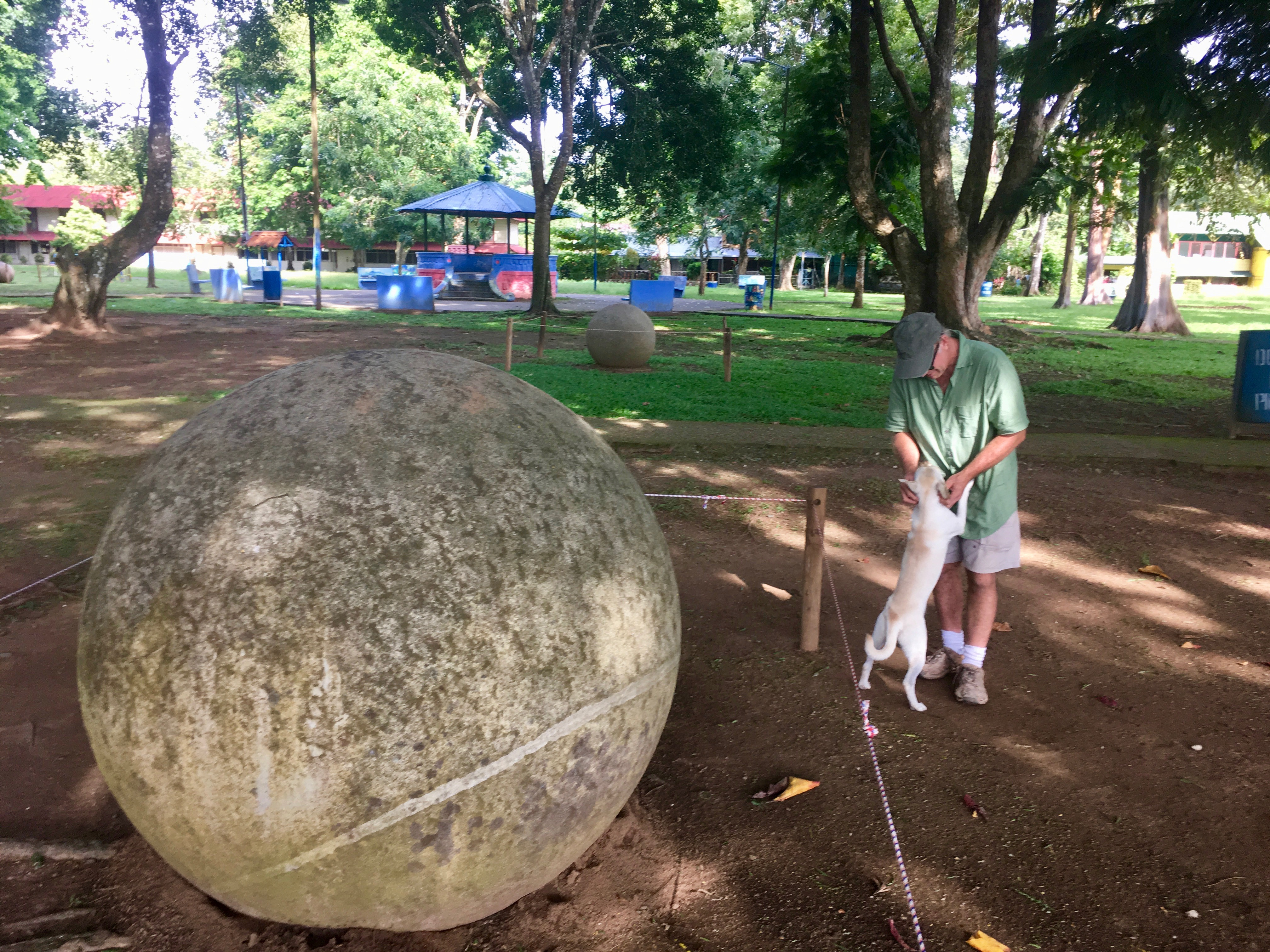 This is the largest of the spheres we saw in the park. Jeff and a sweet stray we met are hanging out in the background.